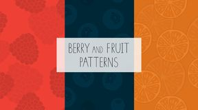 Vector set of colorful seamless patterns with raspberry, orange, blueberry pulp stock illustration