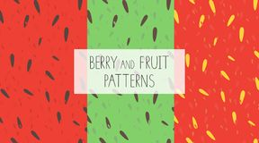 Vector set of colorful seamless patterns with watermelon, kiwi and strawberry pulp royalty free illustration