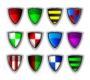 Vector set of colorful shields Stock Images