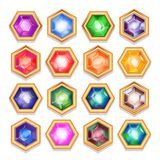 Vector set of colorful shiny jewels. Stock Image