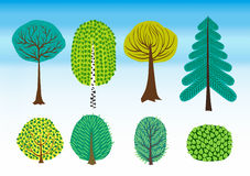 Vector set of colorful shrubs and trees. Stock Image