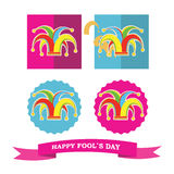 Vector set from colorful silhouette clowns hat Stock Photo