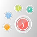 Vector set of colorful  symbols: 1, 2, 3, 4, 5 circle buttons. Vector set of colorful  symbols: 1 2 3 4 5 circle buttons Stock Photo