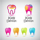 Vector set of colorful teeth logos. Kids dentist, dental medical icons.  Royalty Free Stock Photos