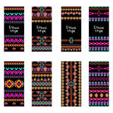 Vector set of colorful vertical banners for business and invitation. Ethnic tribal ornaments. Boho style Stock Photography