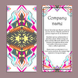 Vector set of colorful vertical banners for business and invitation. Ethnic tribal ornaments. Boho style Stock Photos
