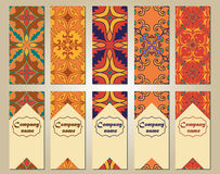 Vector set of colorful vertical banners for business and invitation. Portuguese, Talavera, Moroccan; Arabic; asian ornaments. Geometric and floral motifs Royalty Free Stock Images