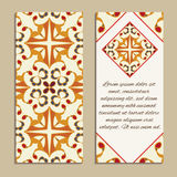 Vector set of colorful vertical banners for business and invitation. Spanish, Moroccan; Arabic; asian ornaments Stock Photo