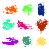 Vector set of colorful watercolor blots and brush strokes, isolated on the white background Royalty Free Stock Images