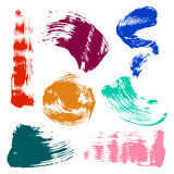 Vector set of colorful watercolor blots and brush strokes, isolated on the white background. Royalty Free Stock Photography
