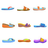 Vector set of colorful women slippers Royalty Free Stock Photography