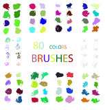 Vector set of 80 colors different brush strokes. Royalty Free Stock Image