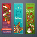 Vector set of colourful Christmas banners. Three vertical templates for your festive design. Christmas decorations and hand-lettering. There are places for your Stock Photography
