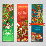 Vector set of colourful Christmas banners. Three vertical templates for your festive design. Christmas decorations and hand-lettering. Christmas tree and Stock Photo