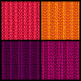 Vector set of colourful ribbing stitch patterns. Stock Photos