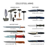 Vector set of combat knifes icons isolated on white background. Bonder knives, bayonet knife, swat knifes. Cold steel Royalty Free Stock Photos