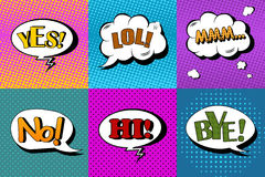Vector set of comic speech bubbles in pop art style. Design elements, text clouds, message templates Stock Photography