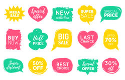 Vector set of comic speech bubbles Sale stickers. Discount card collection, Buy Now, Special Offer, Best Choice etc. Stock Images