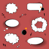 Vector set with comic speech bubbles, stars, bombs and halftone Stock Photos