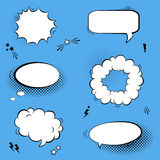 Vector set with comic speech bubbles, stars and halftone shadows Royalty Free Stock Photography