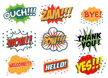 Vector set of comic speech bubbles in trendy fla style. Hand dra Royalty Free Stock Image