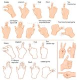 Gestures. Vector set of commonly used multitouch gestures for tablets or smartphone and hand with business signs Stock Photo