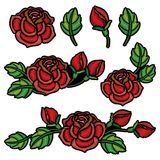 Vector set with composition of embroidery red Rose flower, bud and green leaves isolated. Floral patch with embroidered roses. Vector set with composition of royalty free illustration