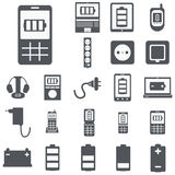 Vector set of computer devices charging, battery, indicators, ad Royalty Free Stock Photo