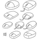 Vector set of computer mouse. Hand drawn cartoon, doodle illustration Royalty Free Stock Images