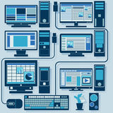 Vector set of computers Royalty Free Stock Photo