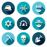 Vector Set of Concentration Camp Icons. German helmet, Barbed Wire, Prisoner, Judaism, Crematorium, Jew, Servitude Royalty Free Stock Photos