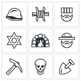 Vector Set of Concentration Camp Icons.  Royalty Free Stock Image