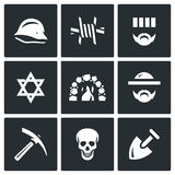 Vector Set of Concentration Camp Icons Stock Photography