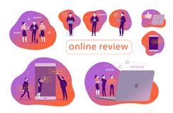 Vector set of concept design with online review. Office people stand watching on mobile device screen - laptop, tablet, smartphone. Thumb up, stars line icons vector illustration