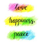 Love Happiness Peace hand lettering Royalty Free Stock Image
