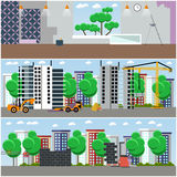 Vector set of construction interior concept posters, flat style Royalty Free Stock Photography