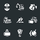 Vector Set of Construction machinery Icons. Builder, excavator, truck, bucket, plow tractor asphalt paver crane hook demolition core Stock Photography