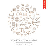 Vector Set of Construction Modern Flat Thin Icons Inscribed in R Royalty Free Stock Image