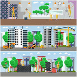 Vector set of construction and repairing house concept posters Royalty Free Stock Photography