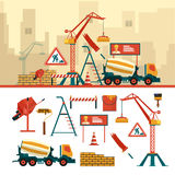 Vector set of construction site objects and tools isolated on white background.. Construction building equipment icons in flat style. Crane, bricks, sign Royalty Free Stock Photo