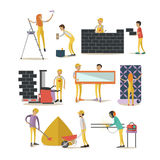 Vector set of construction workers isolated, flat style design elements Royalty Free Stock Images