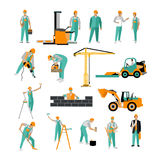 Vector set of construction workers isolated on white. People work. Icons in flat style Royalty Free Stock Photo