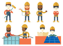 Vector set of constructors and builders characters Royalty Free Stock Image
