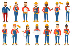Vector set of constructors and builders characters Royalty Free Stock Images