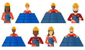 Vector set of constructors and builders characters Royalty Free Stock Photos
