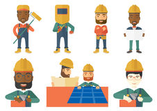 Vector set of constructors and builders characters Stock Photos