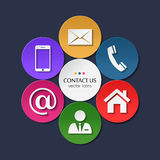 Vector set of contact and communication icons. Stock Photo
