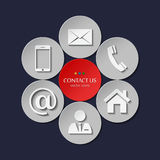 Vector set of contact and communication icons. Stock Image
