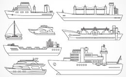 Vector set of container ships. Royalty Free Stock Photo
