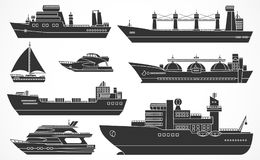 Vector set of container ships. Royalty Free Stock Images